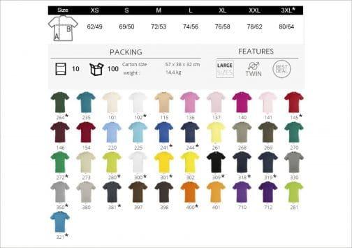 Klasikinių marškinėlių spalvų paletė