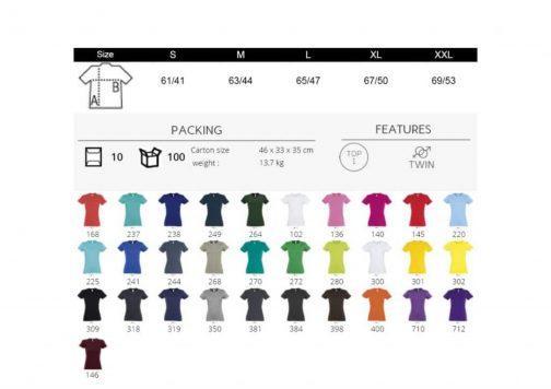 Moteriški marškinėliai spalvos ir dydžiai paletė