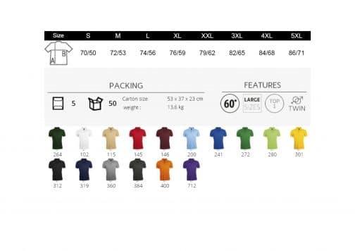Polo vyriškų marškinėlių spalvos