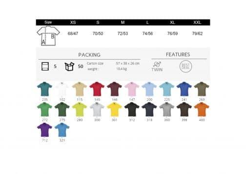 Polo vyriški marškinėliai 170 spalvos
