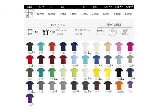 Vyriškų marškinėlių spalvų paletė