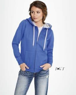 Moteriškas džemperis su užtrauktuku ir gobtuvu