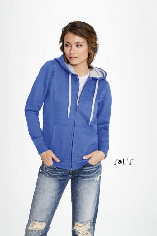 Moteriškas džemperis su užtrauktu ir gobtuvu