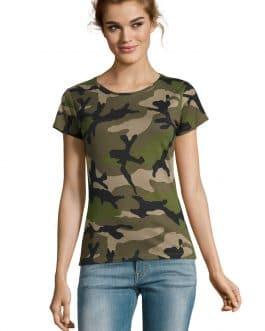 Moteriški kamufliažiniai marškinėliai trumpomis rankovėmis