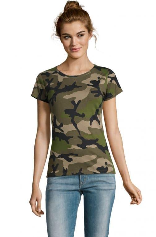 Kamufliažiniai moteriški marškinėliai žali
