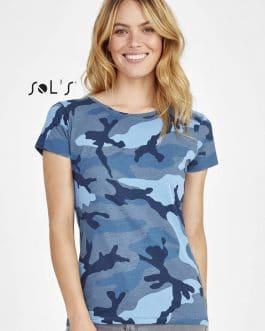 Kamufliažiniai moteriški marškinėliai