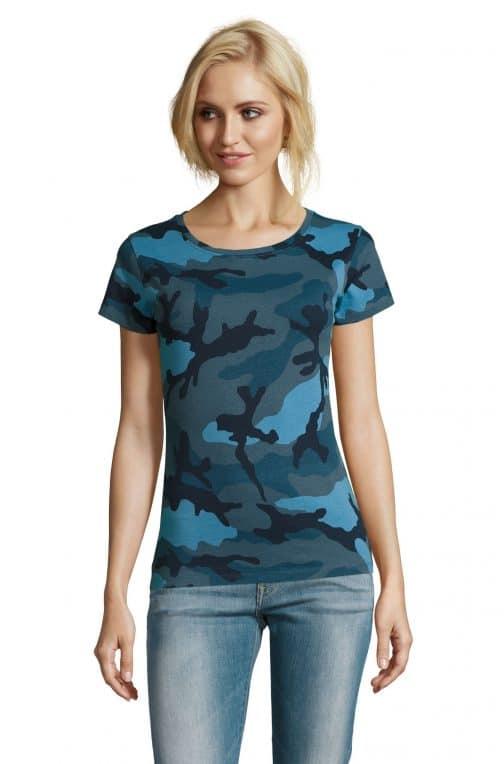 Kamufliažiniai moteriški marškinėliai mėlyni