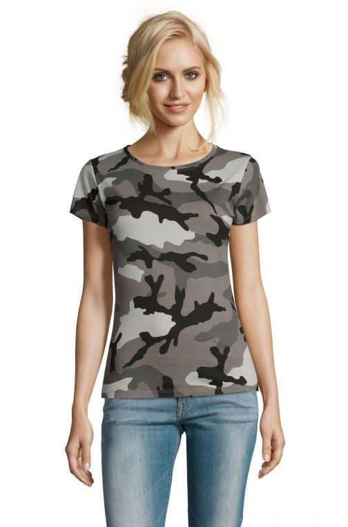 Kamufliažiniai moteriški marškinėliai pilki