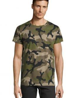 Vyriški kamufliažiniai marškinėliai trumpomis rankovėmis
