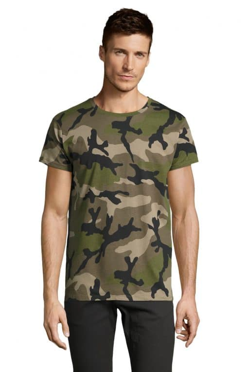 Kamufliažiniai vyriški marškinėliai žali