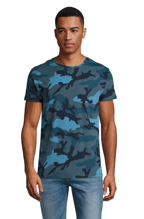 Kamufliažiniai vyriški marškinėliai mėlyni