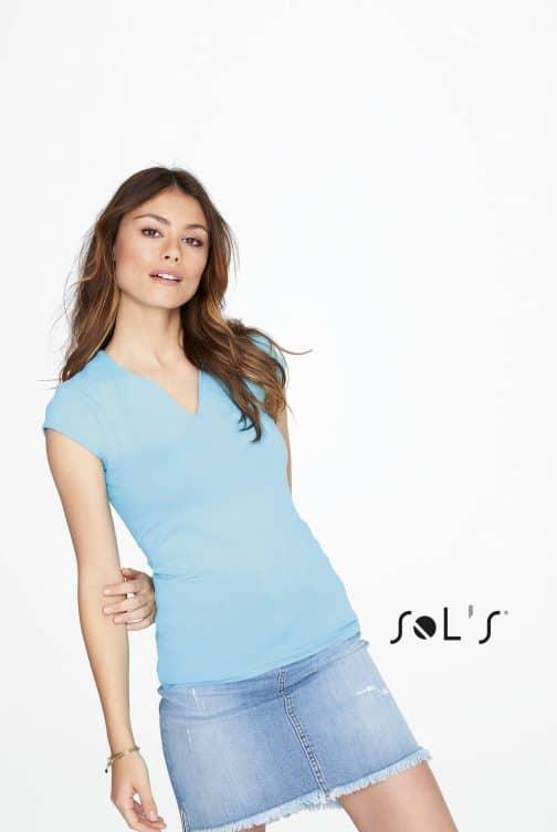Moteriški marškinėliai madinga apykakle