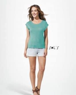 Moteriški marškinėliai madingais rankogaliais