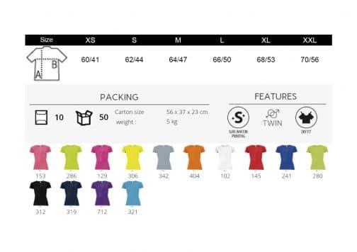 Moteriški sportiniai marškinėliai spalvos