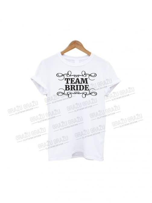 Mergvakario marškinėliai Team Bride