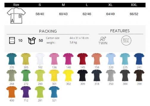 Moteriški prigludę marškinėliai spalvos