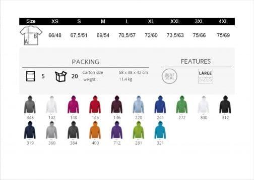 Unisex džemperis spalvos