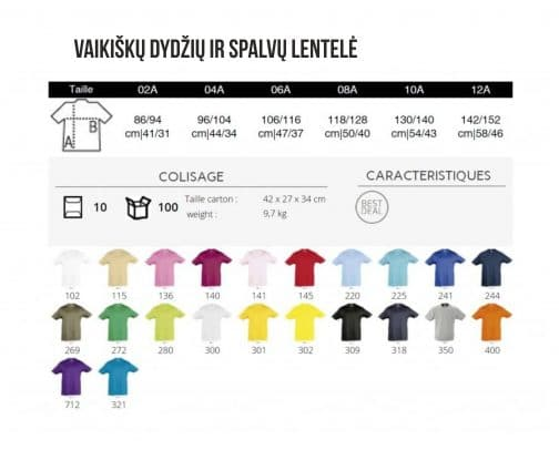 Vaikiškų dydžių ir spalvų lentelė