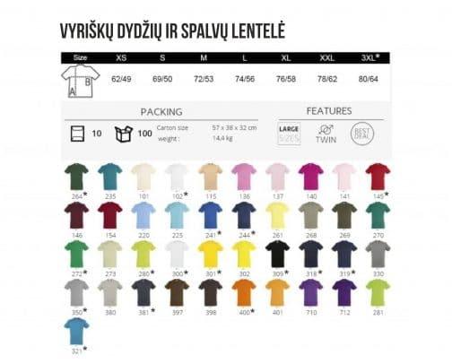 Vyriškų dydžių ir spalvų lentelė