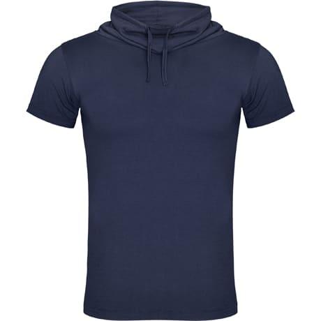 Vyriški marškinėliai paaukštinta apykakle denim blue
