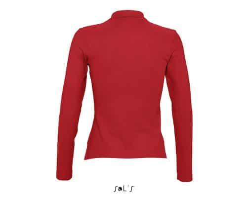 Moteriški polo marškinėliai ilgomis rankovėmis nugara