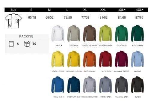 Polo vyriški marškinėliai ilgomis rankovėmis spalvos