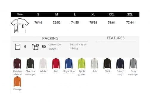 Vyriški polo marškinėliai ilgomis rankovėmis 180 spalvos