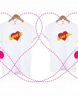 """Marškinėliai poroms """"Love is"""""""