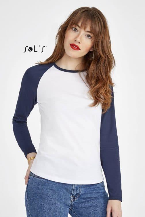 Moteriški dviejų spalvų marškinėliai ilgomis rankovėmis