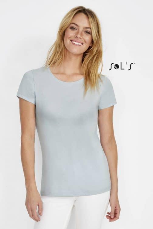 Moteriški marškinėliai apvalia apykakle