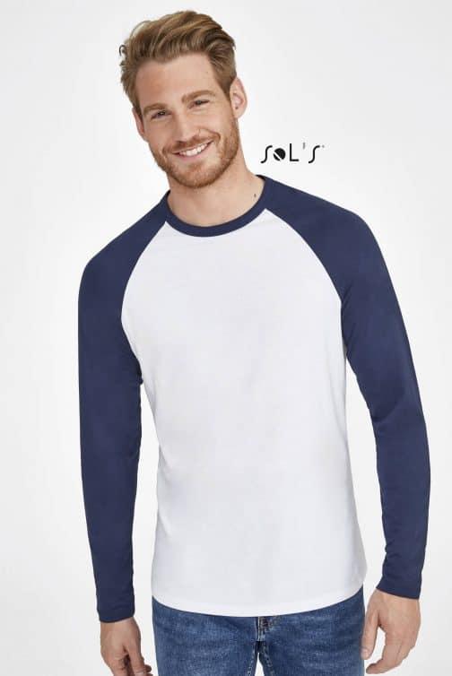 Vyriški dviejų spalvų marškinėliai ilgomis rankovėmis