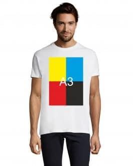 Vyriški balti XXL dydžio marškinėliai su A3 spauda