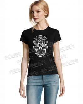 """Moteriški marškinėliai helovinui """"Kaukolė"""""""