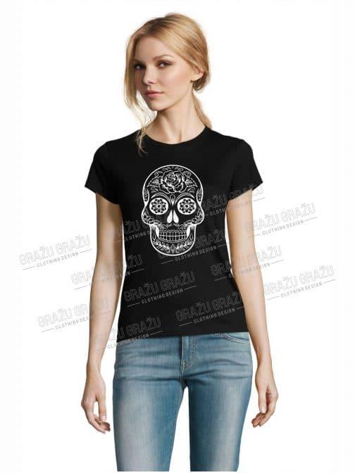 Moteriški marškinėliai helovinui kaukolė