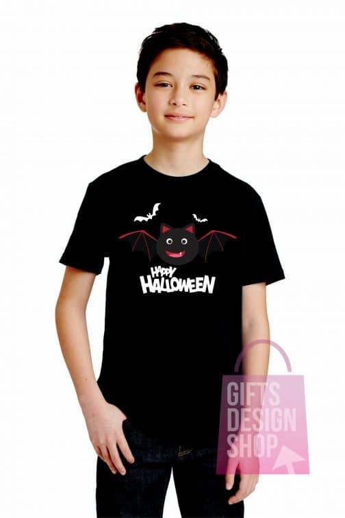 Marškinėliai helovino vaikiški juodi