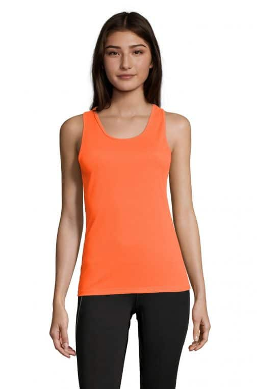 Moteriški sportiniai berankoviai marškinėliai priekis