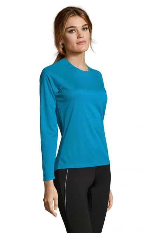 Moteriški sportiniai marškinėliai ilgomis rankovėmis šonas