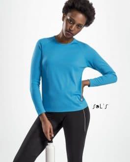 Moteriški sportiniai marškinėliai ilgomis rankovėmis