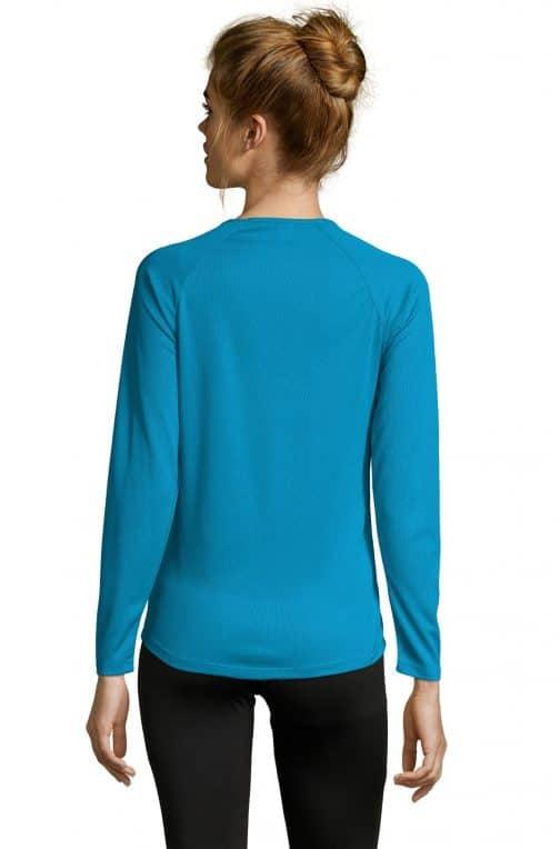 Moteriški sportiniai marškinėliai ilgomis rankovėmis nugara