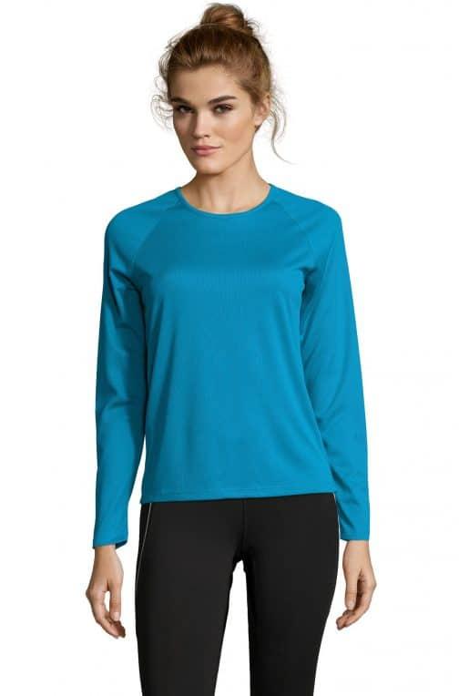 Moteriški sportiniai marškinėliai ilgomis rankovėmis priekis