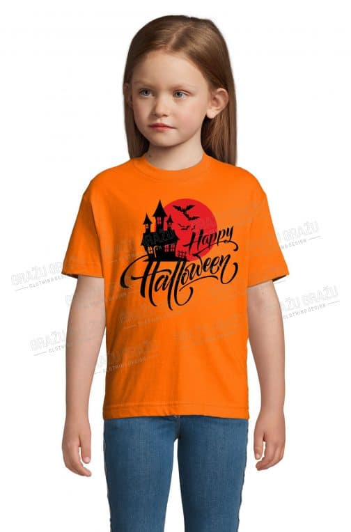 Vaikiški Halloween marškinėliai oranžiniai