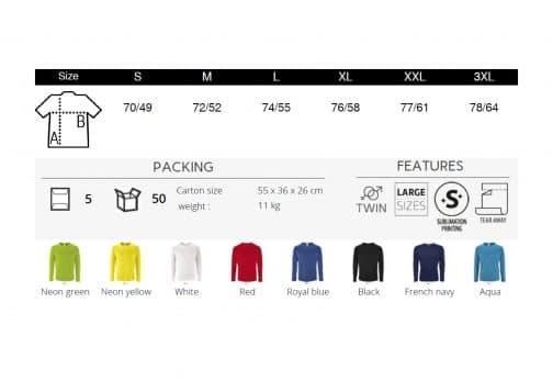 Vyriški sportiniai marškinėliai ilgomis rankovėmis spalvos