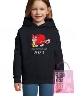 """Kalėdiniai vaikiški džemperiai su gobtuvu """"Žiurkės metai"""""""