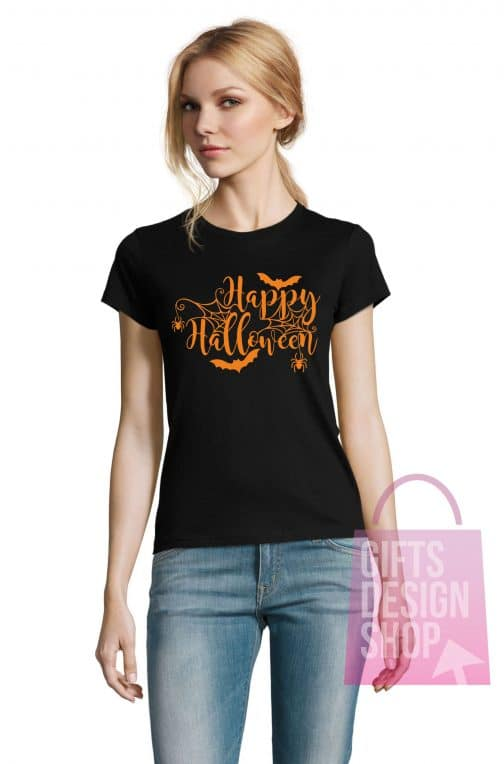 Moteriški marškinėliai helovinui juodi