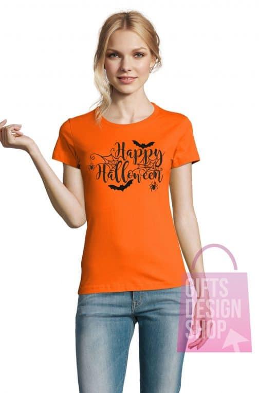 Moteriški marškinėliai helovinui oranžiniai