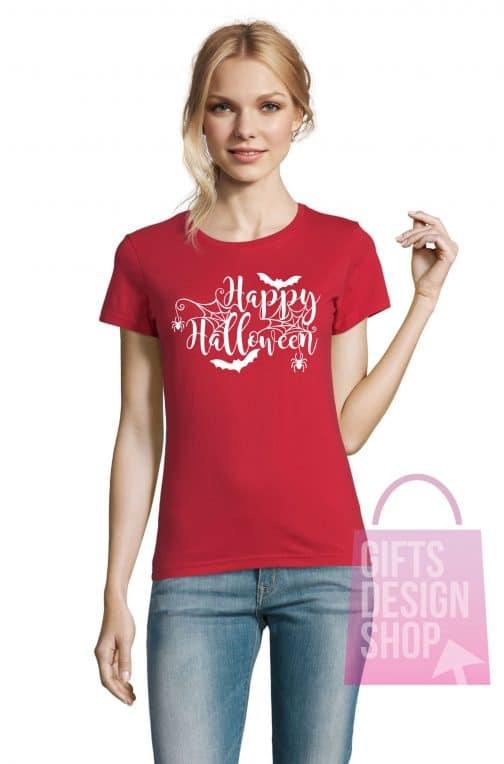 Moteriški marškinėliai helovinui raudoni