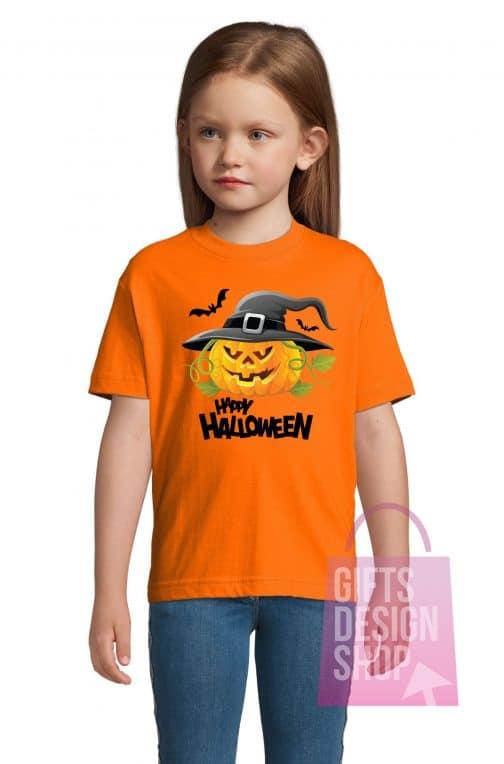 Vaikiški marškinėliai helovinui oranžiniai