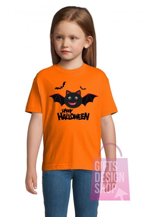 Marškinėliai helovino vaikiški oranžiniai