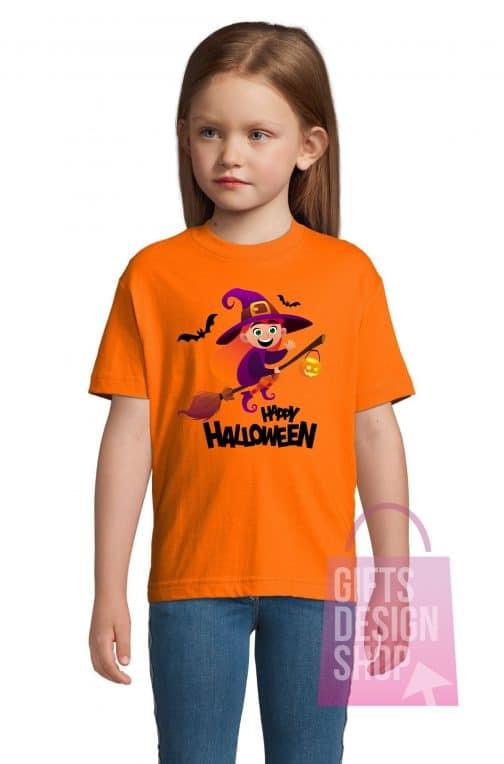Helovino marškinėliai vaikiški oranžiniai