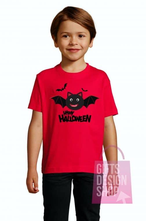 Marškinėliai helovino vaikiški raudoni
